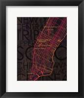 Framed Neon Map II