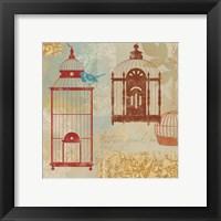 Framed Bird on a Cage I