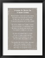 Framed Stopping By Woods On A Snowy Evening Poem by Robert Frost