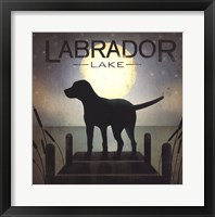 Framed Moonrise Black Dog - Labrador Lake