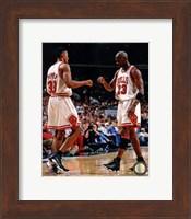 Framed Michael Jordan & Scottie Pippen 1998 Action