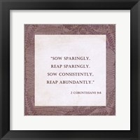 Framed Sow Sparingly 2 Corinthians 9:6