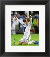 Framed David Beckham Celebrates Winning the 2012 MLS Cup