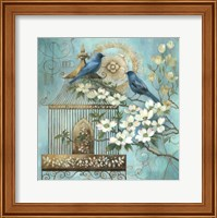 Framed Blue Birds and Dogwood