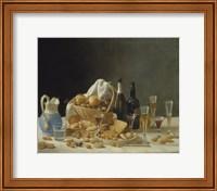 Framed Still Life with Wine Bottles and Basket of Fruit, 1857