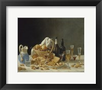 Framed Still Life with Wine Bottles and Basket of Fruit, 1857
