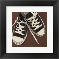 Lowtops (black on brown) Framed Print