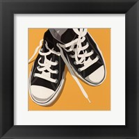 Lowtops (black on yellow) Framed Print
