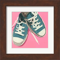 Framed Lowtops (blue on pink)