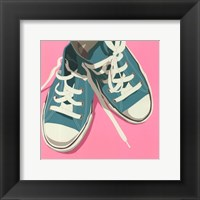 Lowtops (blue on pink) Framed Print