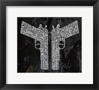Framed Six Shooter & Hand Cannon