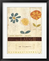 Laugh in Flowers Framed Print
