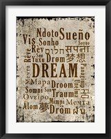Dream in Multiple Languages Framed Print