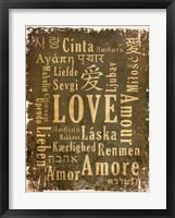 Love in Multiple Languages Framed Print