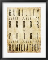Framed Humility Quote