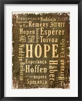 Hope in Multiple Languages Framed Print
