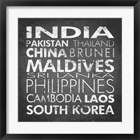 Framed Asia Countries
