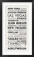 Framed USA Cities White