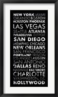 Framed USA Cities Black
