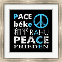 Framed Blue Peace Square I