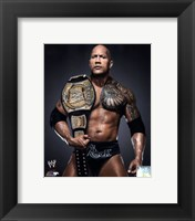 Framed Rock with the WWE Championship Belt 2013 Posed