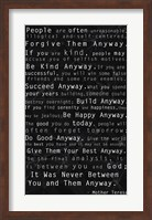 Framed Mother Teresa Quote Black