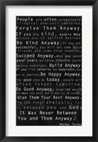 Framed Mother Teresa Quote Black