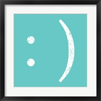 Aqua Smiley Framed Print