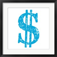 Framed Blue Dollar Sign
