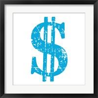 Framed Blue Dollar Sign