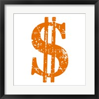 Framed Orange Dollar Sign