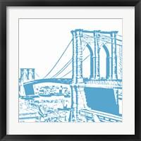 Framed Blue Brooklyn Bridge