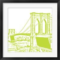 Framed Lime Brooklyn Bridge