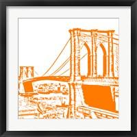 Framed Orange Brooklyn Bridge