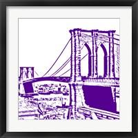 Framed Purple Brooklyn Bridge