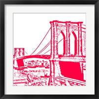 Framed Red Brooklyn Bridge