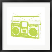 Lime Boom Box Framed Print