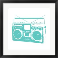 Framed Aqua Boom Box
