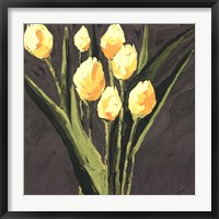 Framed Yellow Tulips On Gray Square