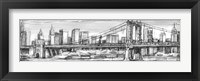 Framed Pen & Ink Cityscape I