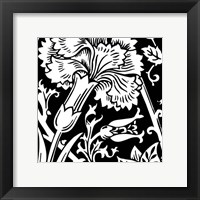 Framed B&W Graphic Floral Motif I