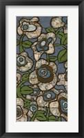 Framed Blue Batik Flowers I