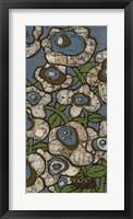 Framed Blue Batik Flowers II