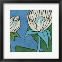 Framed Turquoise Batik Botanical IV