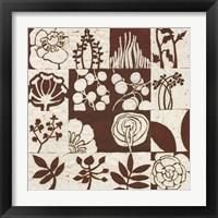 Framed Brown Botanical 16-Patch