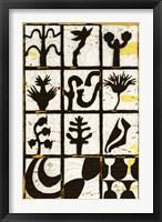 Framed Black Botanical 12-Patch