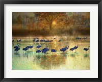 Framed Cranes in Mist II