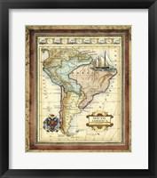 Framed Map of South America