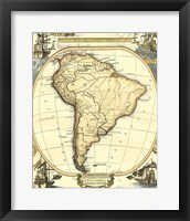 Framed Nautical Map of South America