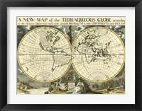 Framed New Map Terra. Globe, Ox., 1700-01